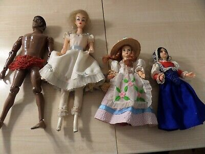 """Lot Of Four Assorted Dolls, Man Has Been Painted, 2 Are 7.5"""" And 2 Are 11"""""""