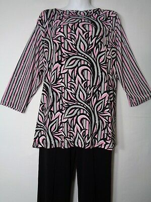 61072abcb1a454 Bob Mackie Wearable Art Tunic Top Blouse Easywear Style 1X 48 Chest NWOT