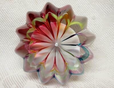 Vintage BOYER Multi-Color  Round Ribbed PAPERWEIGHT  Signed  Excellent Condition
