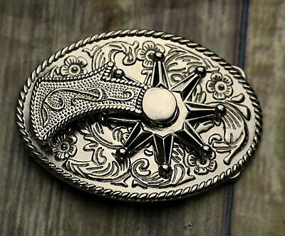 Spinning Spur Rowel Belt Buckle Western Cowboy Silver Country Rodeo Boots VTG