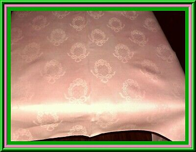 Stunning Antique Pink Damask Linen  Tablecloth With Floral Wreath Design