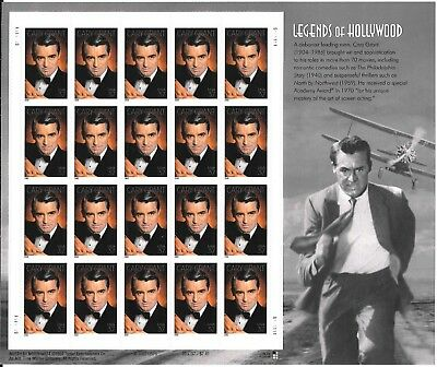 CARY GRANT LEGENDS OF HOLLYWOOD 2002 Unused Stamp Sheet of 20 Stamps