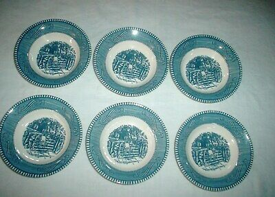 6 Currier and Ives Berry Bowls UnMarked The Old Farm Gate Pattern