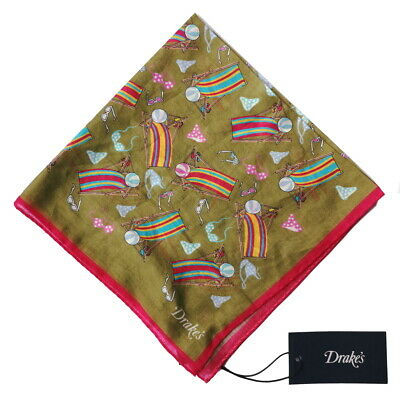 Drake's Pocket Square  Olive green beach print Pure cotton