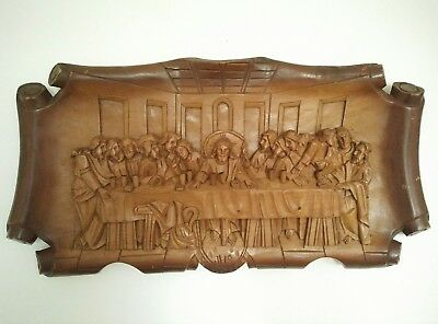 Vintage Wooden crafted Last Supper wall plug, Last Supper picture