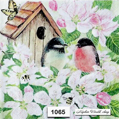 (1065) TWO Individual Paper Luncheon Decoupage Napkins - BIRDS BIRDHOUSE SPRING