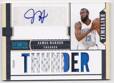 2010 National Treasures James Harden /15 Auto Jersey PATCH Timeline 10-11