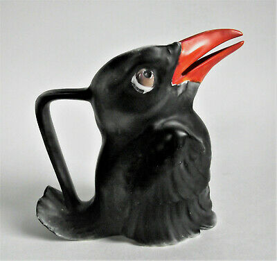 "Rare ROYAL BAYREUTH 4 3/4"" Black Crow RED BEAK Creamer Pitcher Blue Mark ANTIQUE"