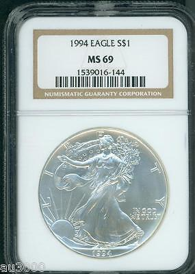 1994 American Silver Eagle ASE S$1  NGC MS69 MS-69 SEMI KEY DATE !!!!