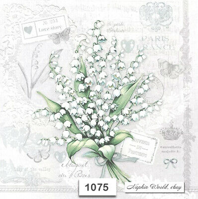 (1075) TWO Individual Paper Luncheon Decoupage Napkins - LILY OF THE VALLEY