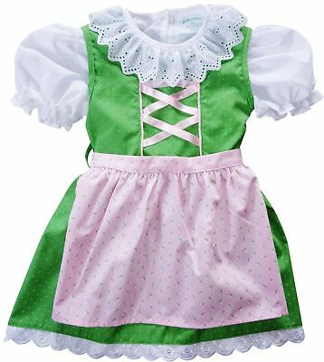 4 T,Girls,Kids Germany,German,Trachten,Oktoberfest,Dirndl Dress,3-pc.,Green,Pink