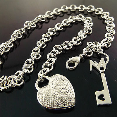 Necklace Chain Genuine Real 925 Sterling Silver S/f Antique Heart Key Pendant