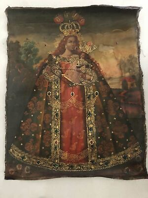 19th Century Spanish American Madonna Oil Painting Jesus Cusco School Antique