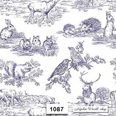 (1087) TWO Individual Paper Luncheon Decoupage Napkin - WOODLAND ANIMALS BLUE