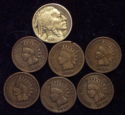 COIN LOT: Key Date  F 1914 Buffalo Head Nickel, 6 Different Indian Head Cents
