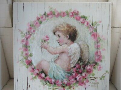 GORGEOUS Christie REPASY CANVAS PRINT Cherub & Pink ROSES Called CIRCLE of LOVE