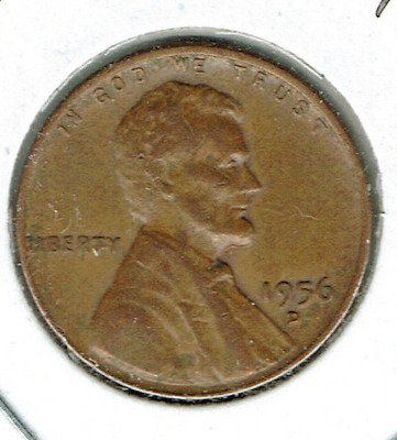1956-D Denver Circulated Business Strike Copper One Cent Coin!