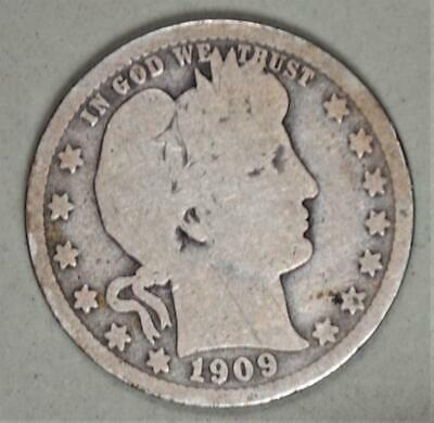 1909 Barber Quarter Dollar Silver Coin