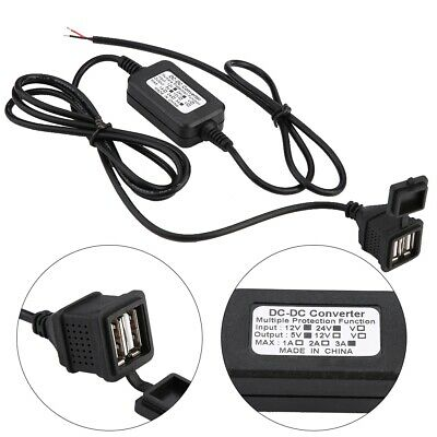 Car 12v To Dc 5v 3a 15w Hard Wired Dual Usb Charger For Dash Cam