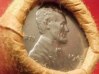 1943-P Obw Original Bank Wrapped Roll Bu Uncirculated Lincoln Wheat Cent Pennies