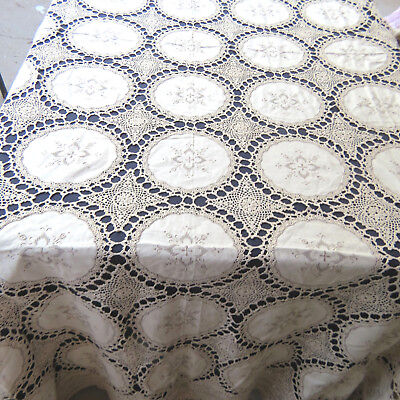 """Vintage Cotton Hand Crochet Lace Embroidered Floral Banquet Tablecloth 72x109"""""""