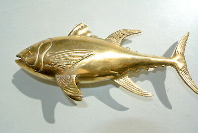 """standing TUNA FISH solid BRASS (hollow) statue 23 cm display trophy heavy 9"""" B"""