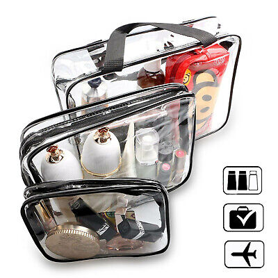 HOLIDAY TRAVEL TOILETRIES BAGS X3 - Clear Plastic Airline Airport Toiletry Bag