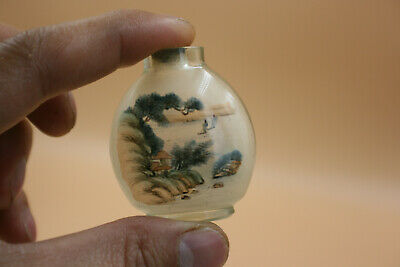 Chinese Glass Inside Hand Painting Landscape Bird Flower Snuff Bottle