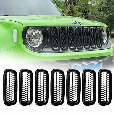 7pcs ABS Front Grille Insert Cover Trim with Mesh for Jeep Renegade 2015-2017