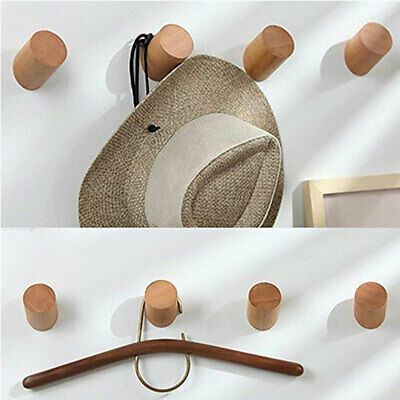5 Pcs Wall-Mounted Solid Wood Round Coat Hook Clothes Hat Bag Hangers Towel Rack