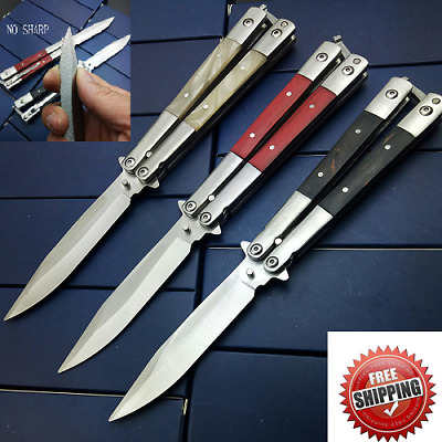 Newest Butterfly in Knife NO SHARP High Quality With Wooden Acrylic 3 Styles