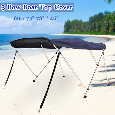 """3 Bow Boat Canopy Top Cover 6ft Long 73""""- 78"""" Shade 600D Support Poles Blue US"""