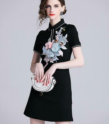 Occident Womens Short Sleeve Floral Embroidery Lapel Collar Slim Fit Sexy Dress