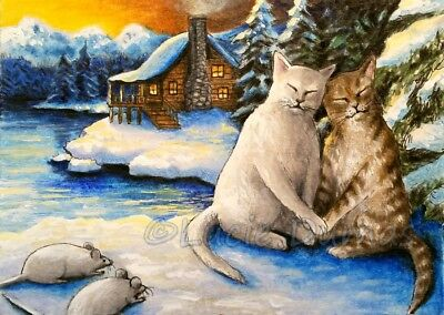 ACEO art print Cat 623 winter snow lake mouse from original art painting L.Dumas