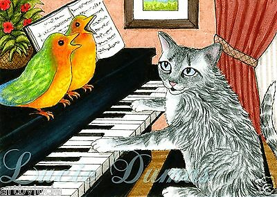 ACEO art print Cat 457 bird piano from funny original painting by L.Dumas