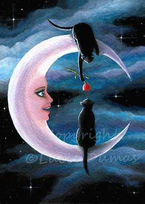 ACEO art print from art painting black Cat 581 crescent moon fantasy by L.Dumas