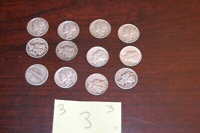 Lot Of 12  Mercury Silver Dimes - Various Dates -