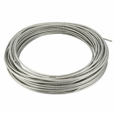 Stainless Steel Wire Rope Cable 4mmx30m 8 Gauge PVC Coated Hoist Grinder Pulley