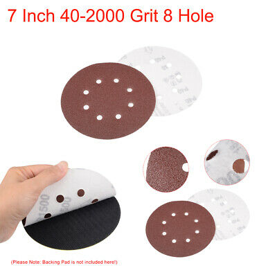 10Pcs 7 Inch 40-2000 Grit 8 Hole Hook and Loop Sanding Disc Flocking Sandpaper