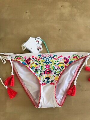 dde4fbcc3a New FLOOZIE Frost French White Floral Neon Tieside Tassel Bikini Bottoms  Size 12