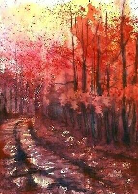 ACEO Fall painting Wood Autumn trees landscape watercolour art card