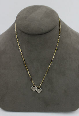 Designer 14k Yellow Gold Pave Diamond Heart Charm Necklace