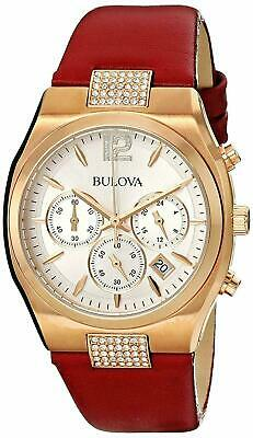 Bulova Chronograph Crystals Champagne Dial Red Leather Women's Watch 97M108 SD9