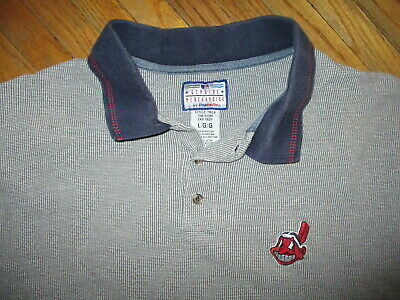 ce6a735e CLEVELAND INDIANS POLO SHIRT EMbroidered Chief Wahoo Logo vtg 80s 90s Mens  LARGE