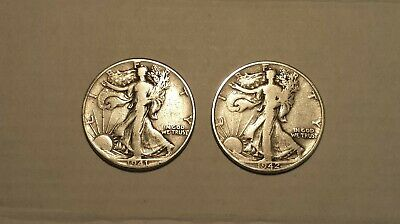 Lot of 2 Walking Liberty Half Dollars $1 Face Value 90% Silver US Coins 1942 D