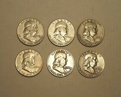 $3 FACE VALUE of FRANKLIN HALF DOLLARS 90% SILVER (LOT OF 6 COINS)