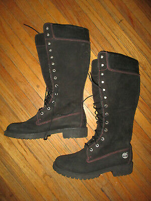 TIMBERLAND BLACK SUEDE Leather Chunky Block Heels Zip Up