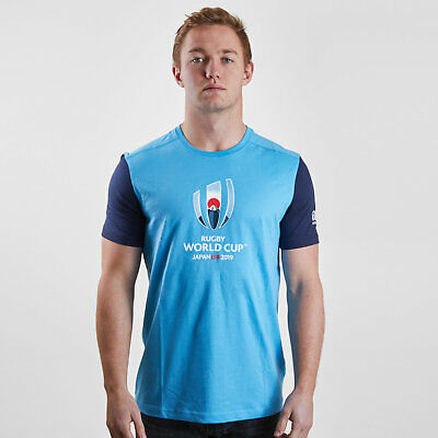 Canterbury Mens RWC 2019 Cotton Graphic Short Sleeve Rugby T-Shirt Top Tee Blue