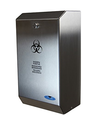 """Frost 878 Stainless Steel Biomedical Sharps Disposal, 4.23 quarts, 5.9"""" Steel,"""