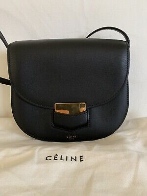 e0c2655a01f AUTHENTIC CELINE SMALL Trotteur Bag In Black Leather